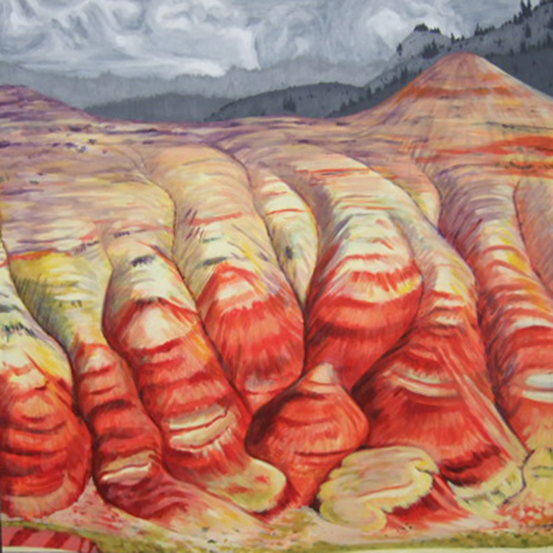Painted Hills, 48 x 48, 2011, acrylic on wood - In the collection of Sharon Buckingham, Longview, WA.
