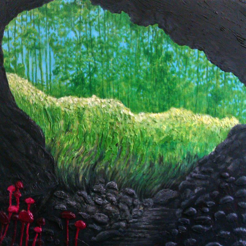Ape Caves, 48 x 48, 2012, acrylic and silicone caulking on wood.