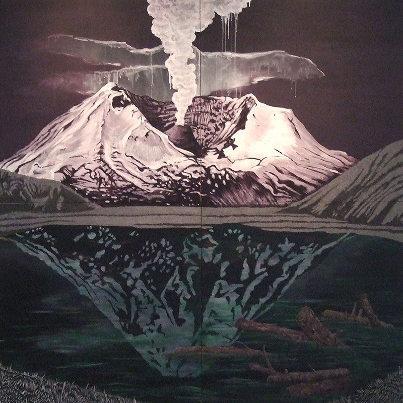 Mt St Helens, 96 x 96, 2012, acrylic on wood.<br><a href=&#039;http://www.saatchiart.com/art/Painting-Mt-Saint-Helens/206881/1936014/view&#039; target=&#039;_blank&#039;>Purchase Artwork</a>