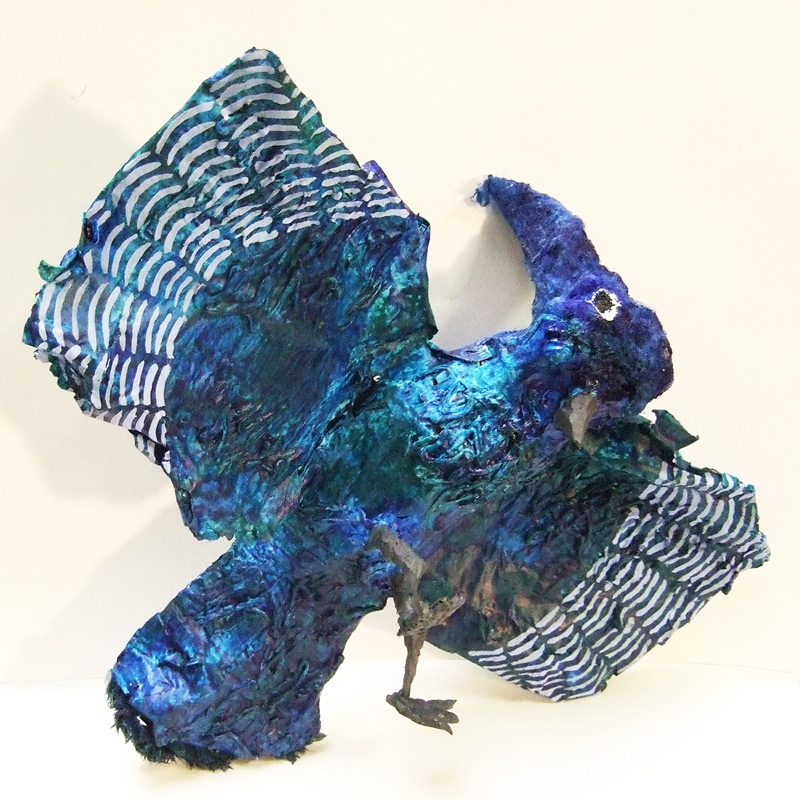 Blue Jay, 12inx8in, 2012, Paper mache and silicone