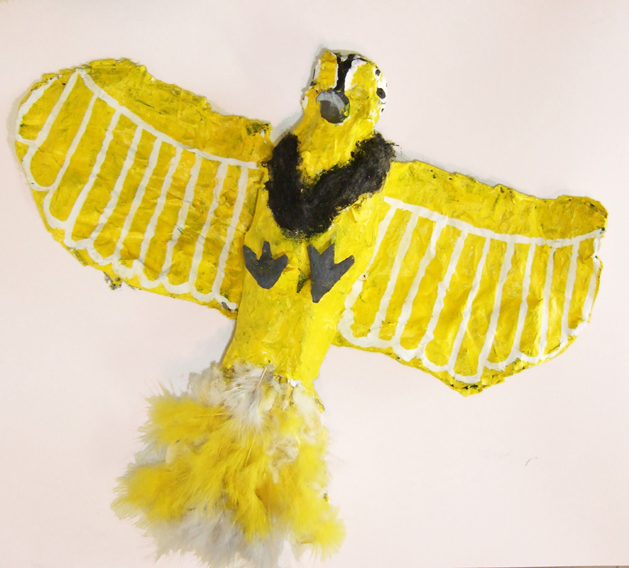 Western Meadowlark, 12inx8in, 2012, Paper mache and silicone
