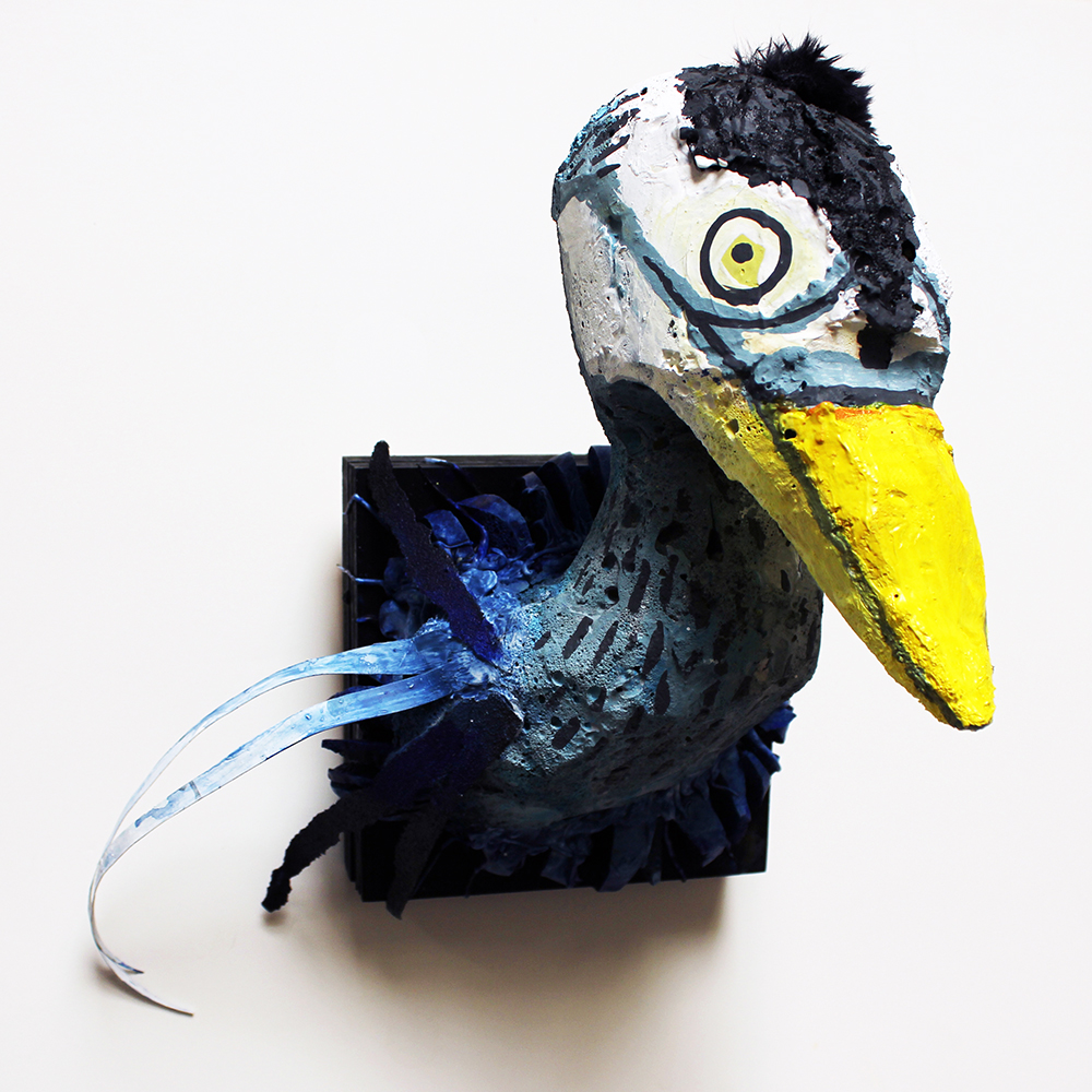 Crane, 10 x 10 x 6, 2014, Foam, silicone, sandpaper, and acrylic paint.